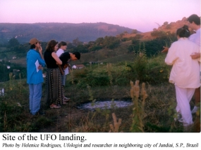 Site of the UFO landing. Photo by Helenice Rodrigues, Ufologist and researcher in neighboring city of Jundiaí, S.P., Brazil